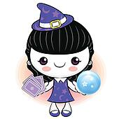 Tarot witch kid hitting points, Halloween Character Design