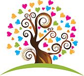 Tree with ornaments and hearts logo