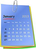 Calendar for january 2013 on colorful sticky notes