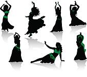 Belly dance. Silhouettes of beauty