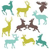Set of Reindeer Christmas Silhouettes - for your design or scrapbook - in vector