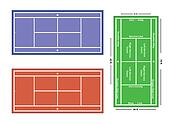An exact scale vector illustration of a tennis court