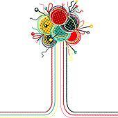 Knitting Yarn Balls Abstract Composition
