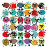 Knitting Yarn Balls and Sheep Abstract Square Composition