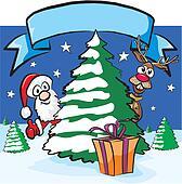 christmas eve - santa and reindeer