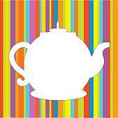 Tea pot menu funny background in bright colors