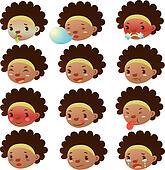 Cute black girl facial expressions