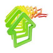 Queue line of house emblems falling