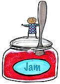 Jam Jar with Child and Spoon
