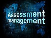 Management concept: pixelated words Assessment management on dig