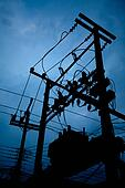 Silhouette of electric transformer substation