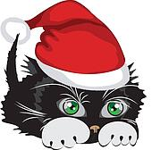 Kitten wearing a Santa Claus hat over white background