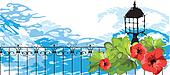 Marine. Flowers, leaves, lantern and fencing against the sea, ve