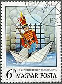 HUNGARY - CIRCA 1987: A stamp printed by Hungary shows the Steadfast Tin Soldier, by Hans Christian Andersen, Fairy Tales series, circa 1987