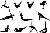 Pilates silhouettes of working out