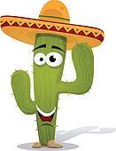 Cartoon Mexican Cactus Character