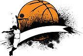 Woman Basketball Grunge Banner