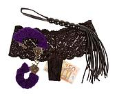 Fluffy purple handcuffs, a whip, money and panties on a white background, prostitution