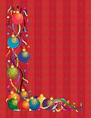 Christmas Ornaments with Ribbons Confetti Red Background