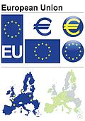 European Union collection including flag, plate, map (administrative division), symbol, currency unit & coat of arms