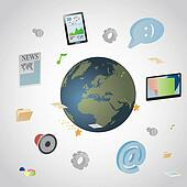 Communication infographics. Different elements of communication arounf the globe
