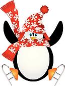 Penguin with Santa Hat Ice Skating Illustration