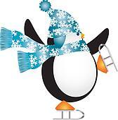 Penguin with Blue Hat Ice Skating Illustration