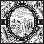 Pumpkin harvest black and white