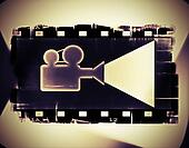 Old film strip frame and movie