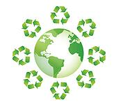 globe white recycle sings around