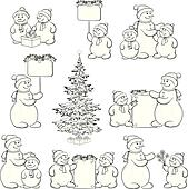Set snowman and Christmas tree, outline