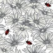 Seamless floral pattern with red beetles. Vector illustration.