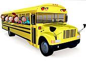 3D kids in a school bus