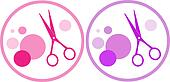 set of colorful  hair salon symbol