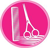 symbol of hair salon with scissors