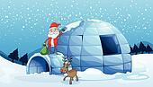 an igloo and a santa clause