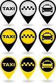 set of taxi pins