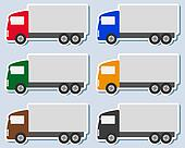 set of colorful sticker with truck