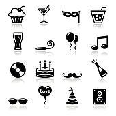 Party icons set - birthday, New Yea