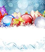 New Year's Eve, Christmas background with balls and gifts