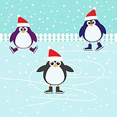 Ice skating cute Penguins
