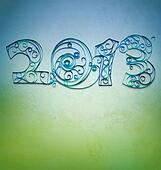 retro style paper with quilling  2013 year numbers