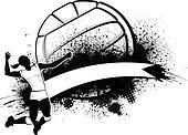 Girl Volleyball Grunge Banner