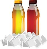 Juice bottles with ice cubes