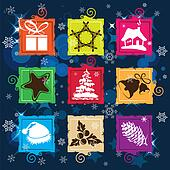Set vector Christmas icon, seamless background