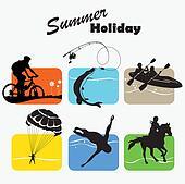 Summer holiday, set icon