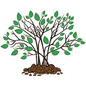 Bush with leaves in the soil, vector illustration