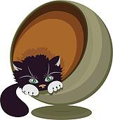 Black and white cat in a round recliner, vector illustration