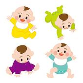 illustration of set of cute baby