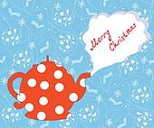 Christmas card with tea pot and pattern